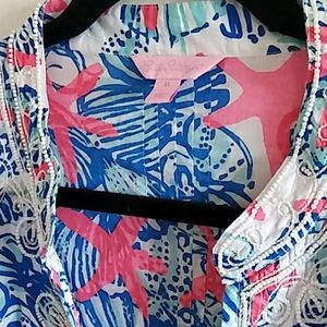 Lilly Pulitzer Beachy Beaded Tunic Top XL